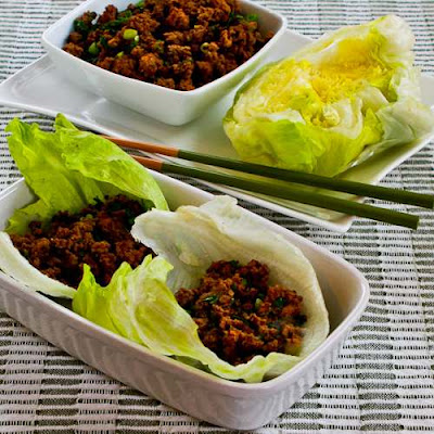 Low-Carb Sriracha Beef Lettuce Wraps [found on KalynsKitchen.com]