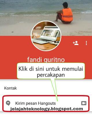 Kirim pesan hangout dengan teman google plush