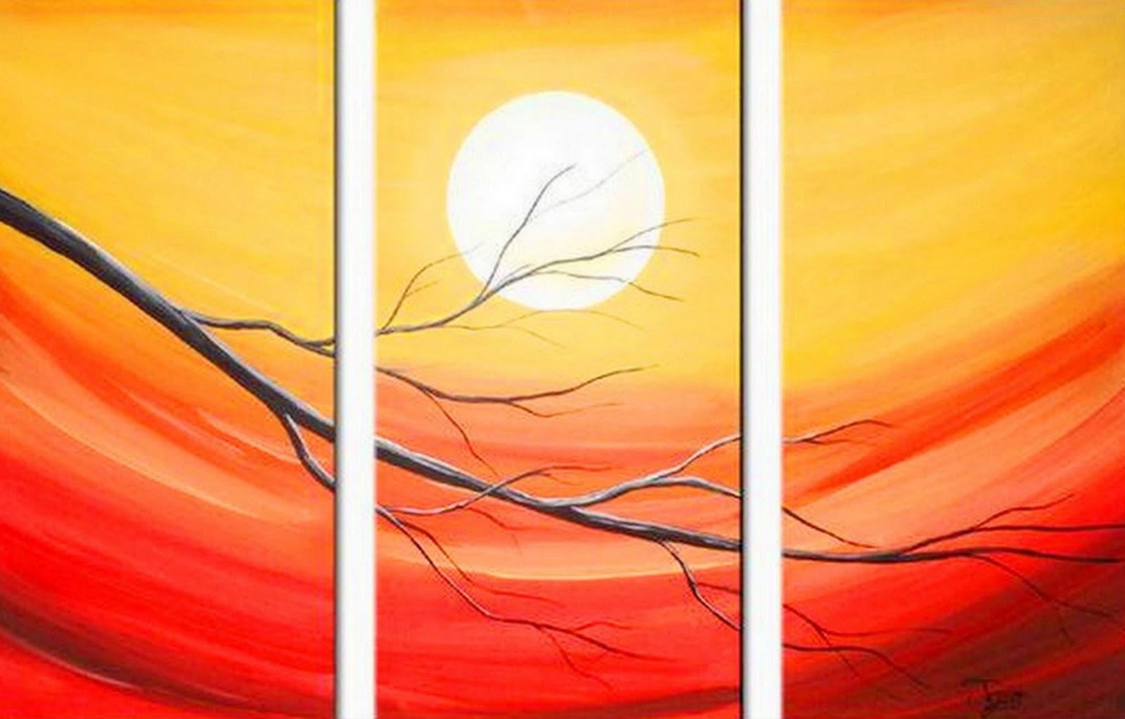 Cuadros modernos pinturas y dibujos cuadros tr pticos de paisajes modernos - Como pintar cuadros faciles ...