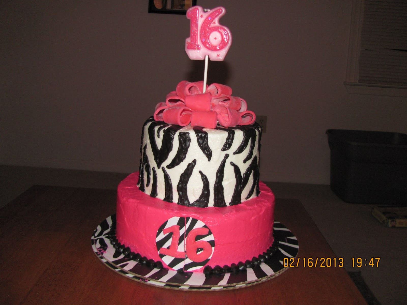 Batter Up Hot Pink And Zebra Print Sweet Sixteen Cake