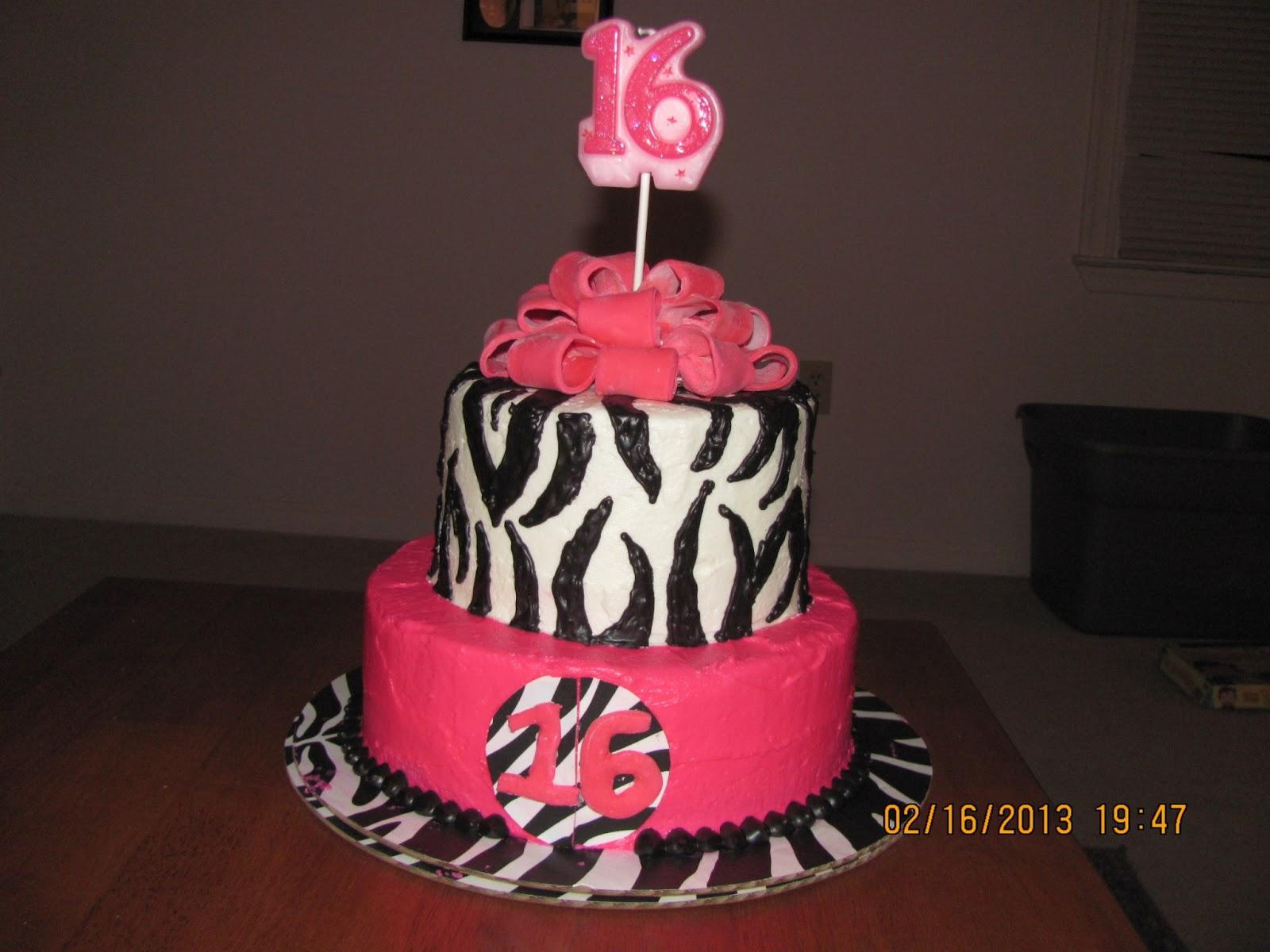 Batter Up Hot Pink And Zebra Print Sweet Sixteen Cake