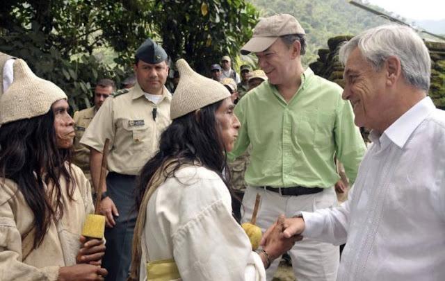 """Juan Manuel Santos y Sebastián Piñera visitan a los """"mamos"""""""