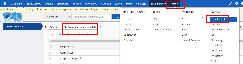 Impostare e inviare email da vtiger utilit per il mondo business per potervi accedere cliccate nel menu in alto a destra tutti poi cliccate su email templates e infine su aggiungi email template maxwellsz