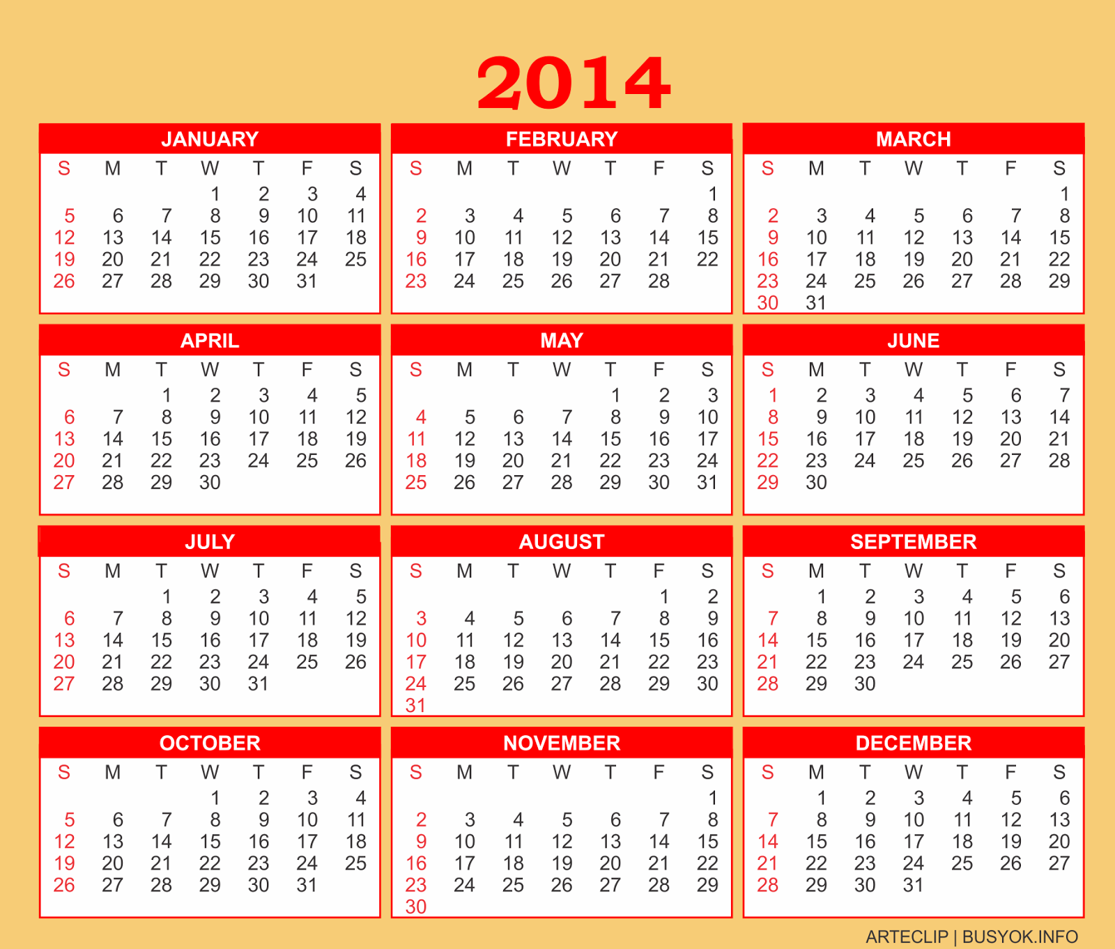 Arteclip by busyok creative free printable 2014 calendar for Fillable calendar template 2014
