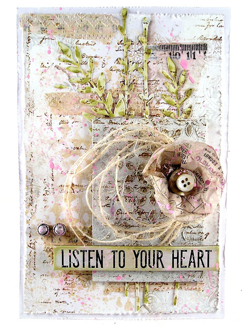 Tim Holtz Idea-ology collage paper travel Stampers Anonymous Entomology Dina Wakely Media Tape Sizzix Wildflowers Stems #1 Distress Stain Spray Picked Raspberry Ranger Layering Stencil Nordic Holiday Knit for The Funkie Junkie Boutique