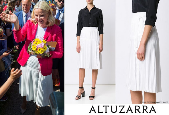 Crown Princess Mette Marit-wore ALTUZARRA Mayumi Pleated Skirt