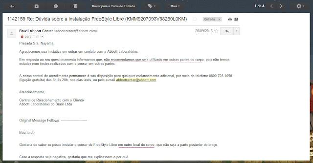 e-mail da abbot sobre o freestyle libre