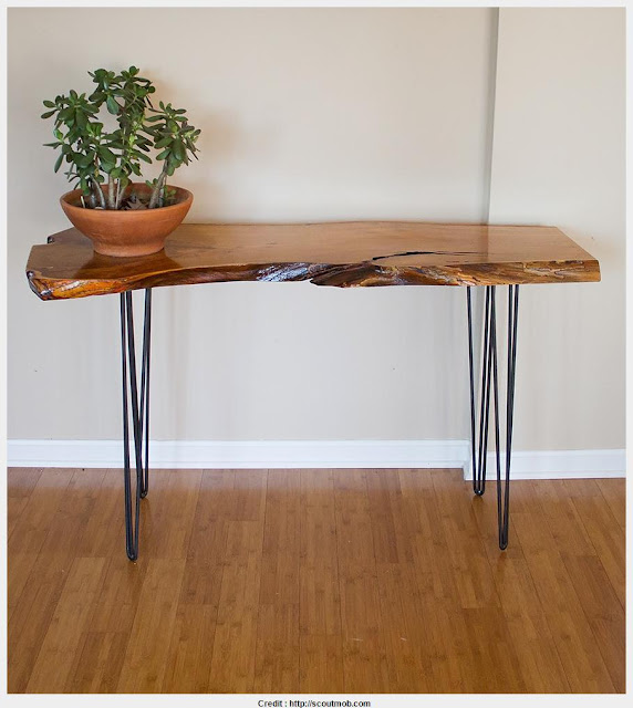 Beautiful Natural Wood Console Table Photograph