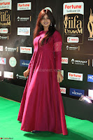 Monal Gajjar in Maroon Gown Stunning Cute Beauty at IIFA Utsavam Awards 2017 061.JPG