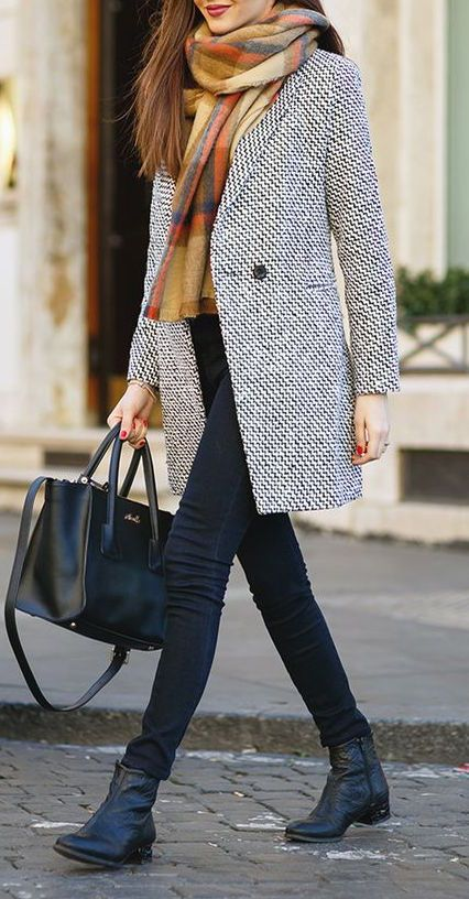 how to style a coat : boots + skinnies + bag + colorful scarf