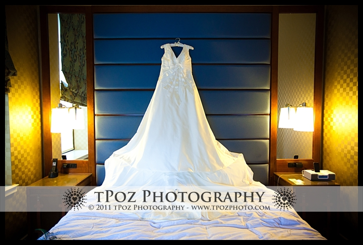 Matthew Christopher Wedding Gown hanging at the Hotel Monaco Baltimore