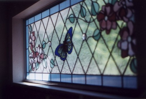 Stained Glass Window stained glass windows for homes : SGO Victoria Stained Glass Overlay : Butterfly and Flowers Stained ...