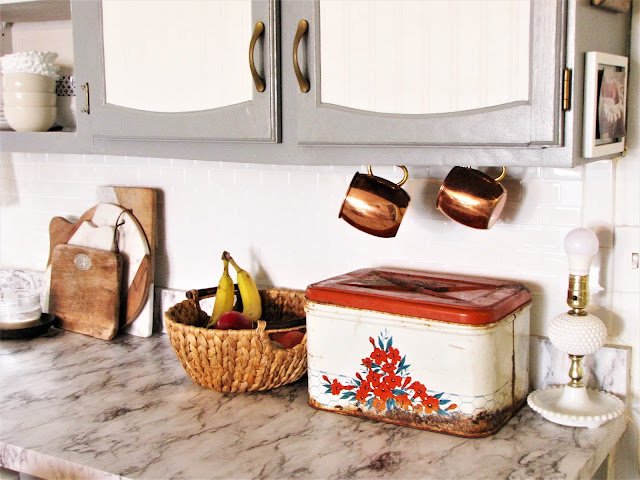 pops of color in a neutral farmhouse kitchen