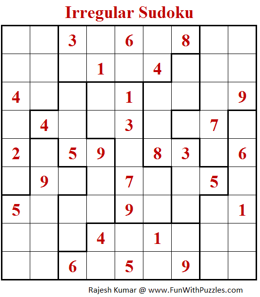 Irregular Sudoku Puzzle (Fun With Sudoku #279)