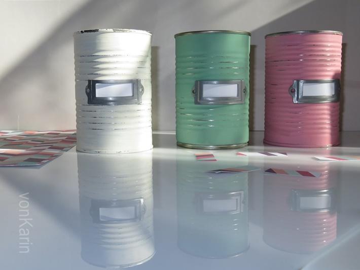 drei Upcycling Konservendosen in Pastell