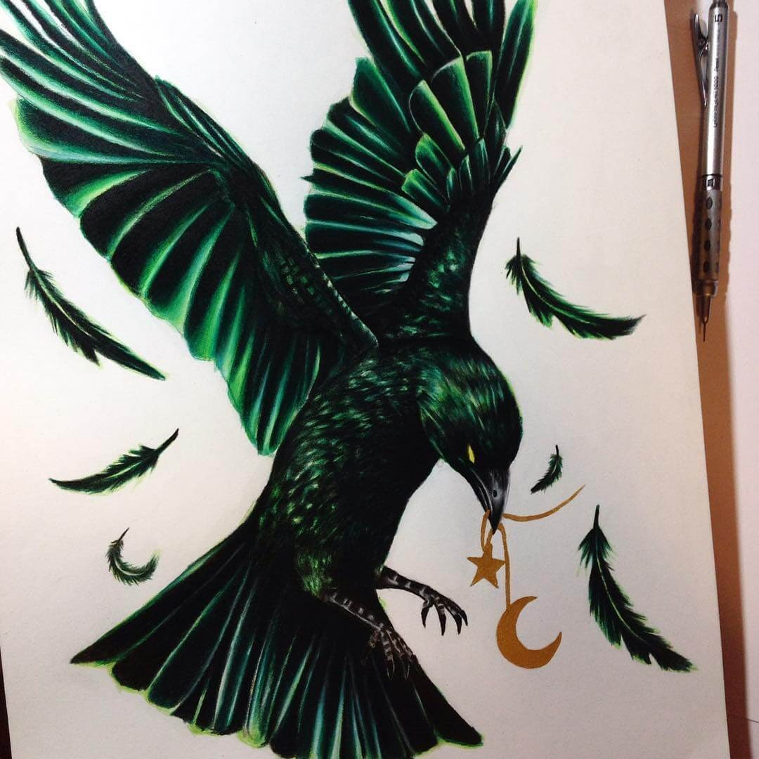 06-Green-raven-Estefani-Barbosa-Fantasy-Animals-in-Pencil-Drawings-www-designstack-co