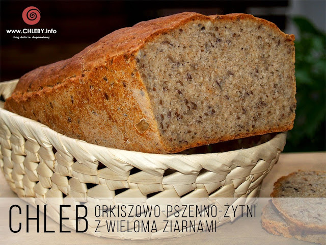 Chleb orkiszowo-pszenno-żytni z wieloma ziarnami