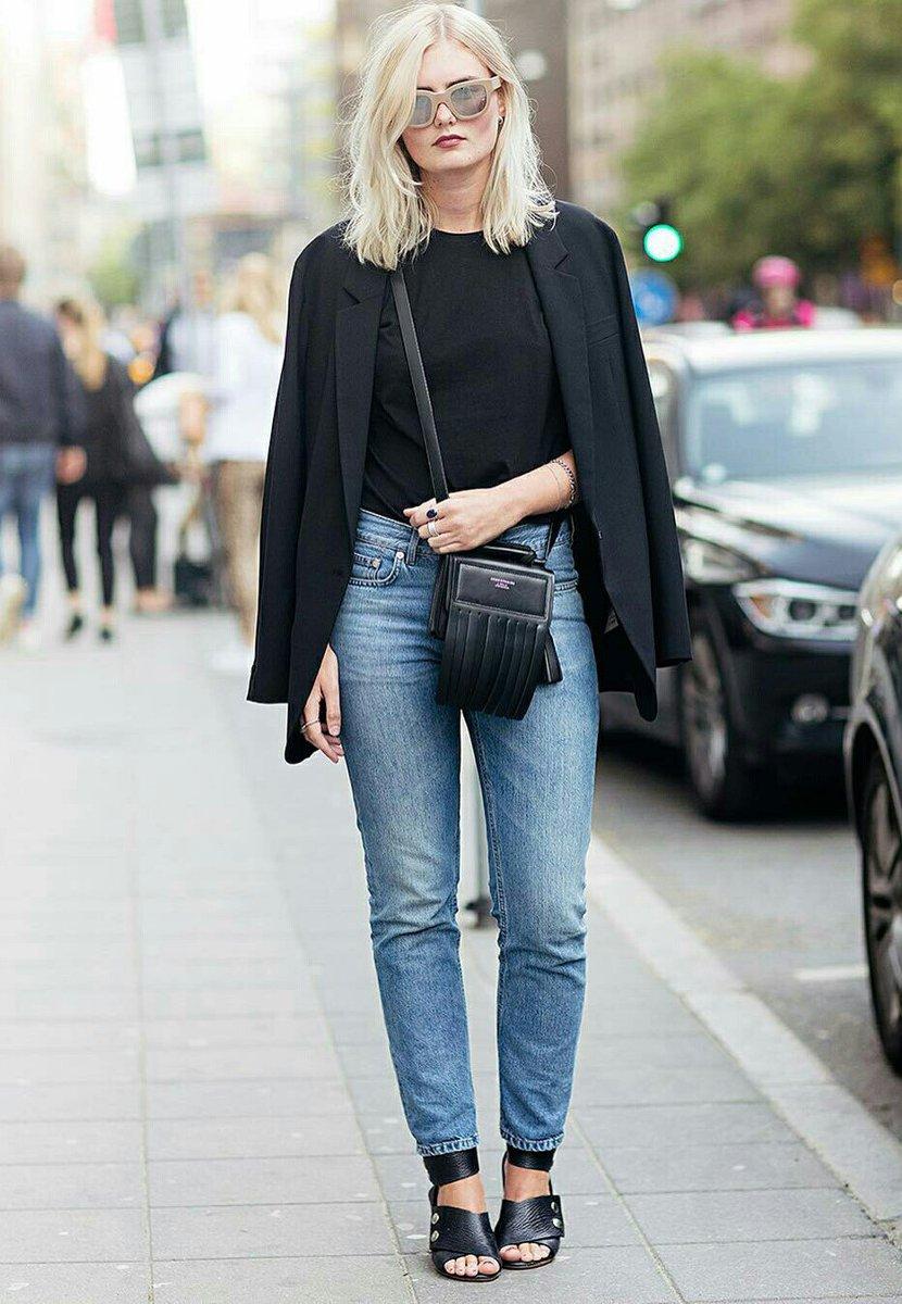 Look para meia estação com blazer e calça jeans