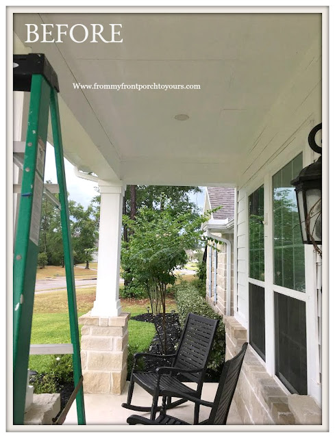 Porch Ceiling Makeover-Before- From My Front Porch To Yours
