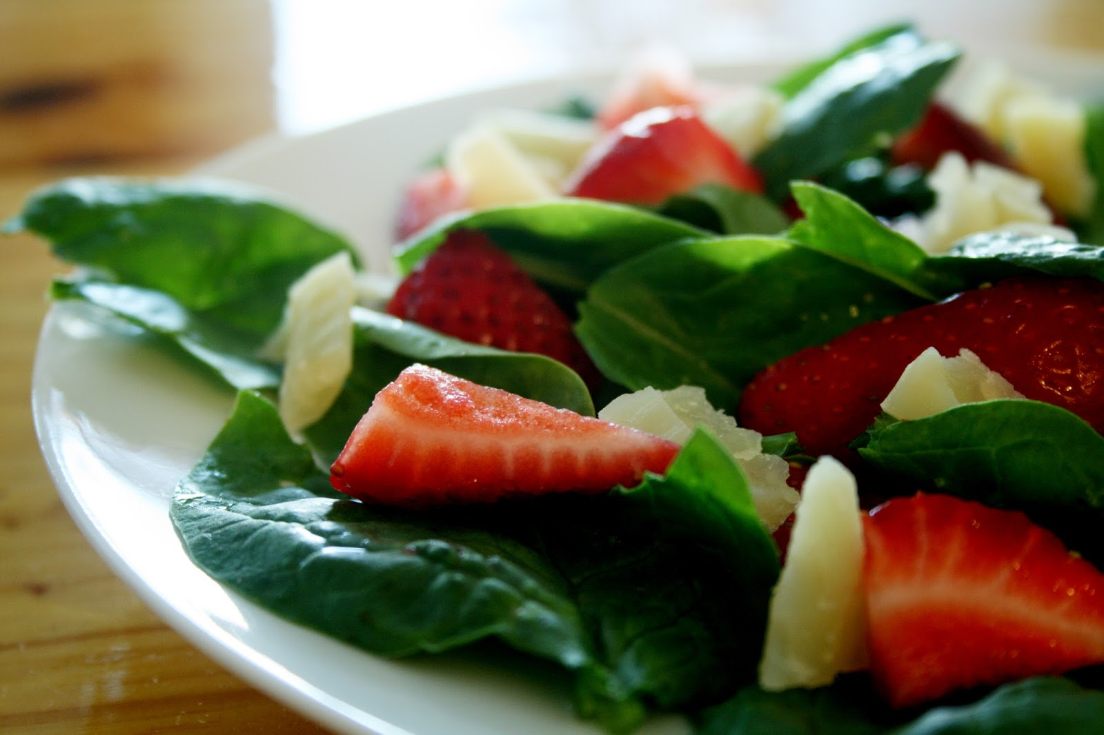 Salad garnished with strawberries