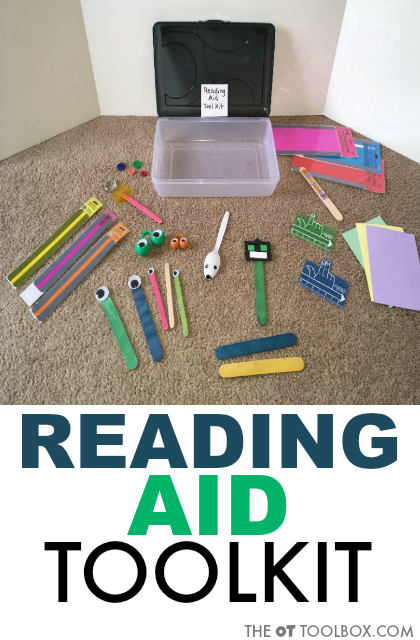 Create a reading aid toolkit for occupational therapy treatment of reading issues in pediatric occupational therapy activities.