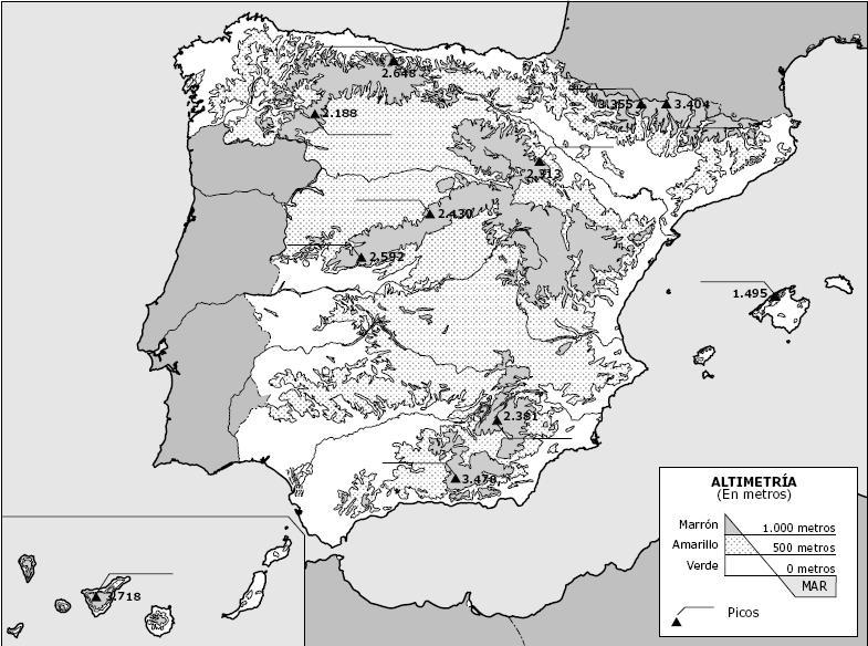 Mapa Fisico De España Para Imprimir En A4.Mapa Fisico De Espana Mudo En Color Para Imprimir Imagui