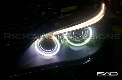 modifikasi lampu depan BMW Angel eyes