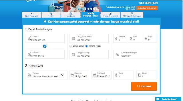 Tentukan tujuan, tanggal dan cari paket yang sesuai di Traveloka