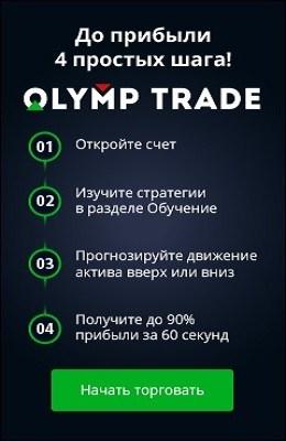 как заработать на olymp trade, до прибыли 4 простых шага: открыть счет, изучить стратегии в разделе обучение, спрогнозировать движение актива вверх или вниз, заработать до 90% прибыли за 60 секунд 1 минуту, начать торговать