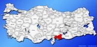 Gaziantep ilinin Türkiye haritasında gösterimi