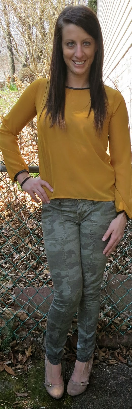 mustard shirt, camo pants, target, fashion, outfit