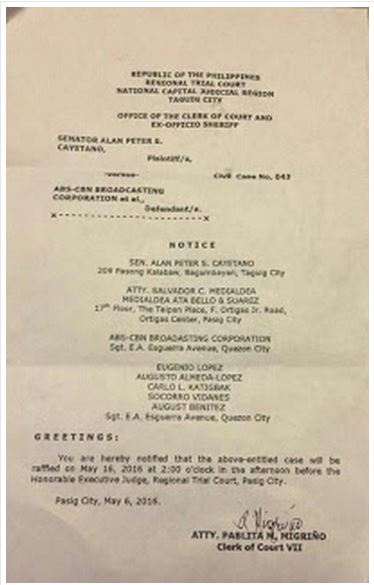 Temporary Restarining Order Was Filed Against ABS-CBN For Airing Anti-Duterte Ads