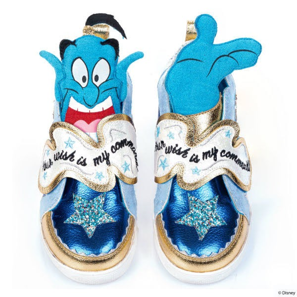 blue metallic Disney Genie trainers with character puffed tongues and glitter stars