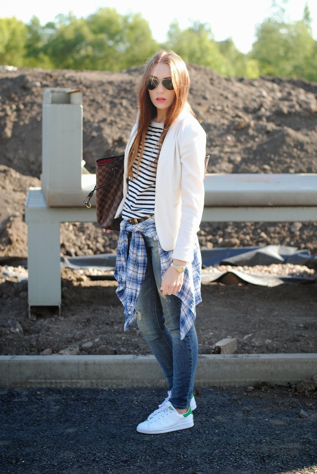 e109dde4041f Blazer – H M   Breton strip top – Cos   Jeans – Zara   Belt – Vintage  Armani   Bag – Louis Vuitton Neverfull   Trainers – Adidas Stan Smith    Shirt – old ...