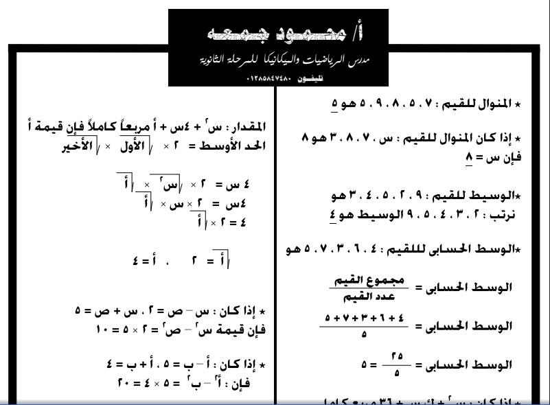 مراجعة الجبر للصف الثانى الاعدادى دور ثان 2016 للاستاذ / محمود جمعه