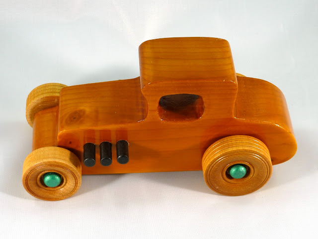 Top Left Side - Wooden Toy Car - Hot Rod Freaky Ford - 37 T Coupe - Pine - Amber Shellac - Metallic Green Hubs