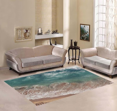Beach Sea and Ocean Wave Area Carpet