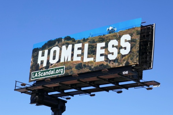 Homeless Hollywood Sign billboard