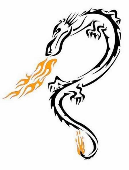 Dragon on flames tattoo stencil