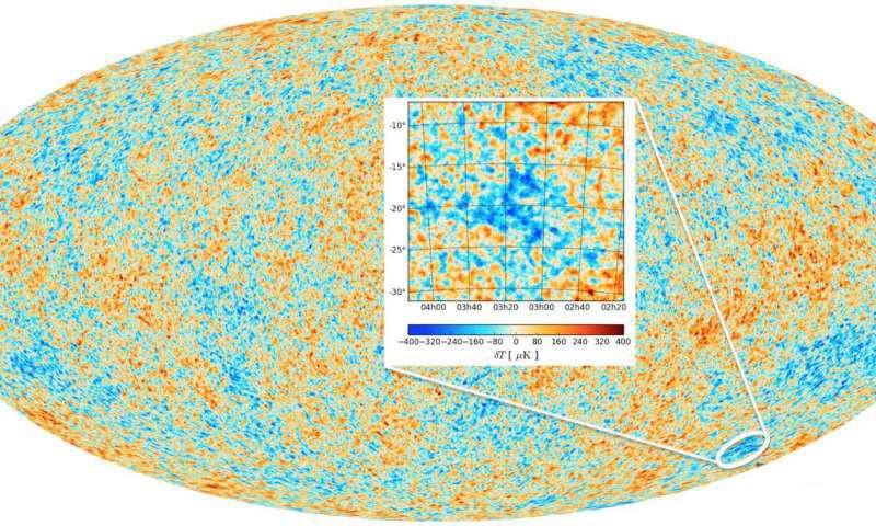 Mapa de la radiación de fondo de microondas (CMB) grabado por el satélite artificial Planck que muestra el 'Punto Frío'.