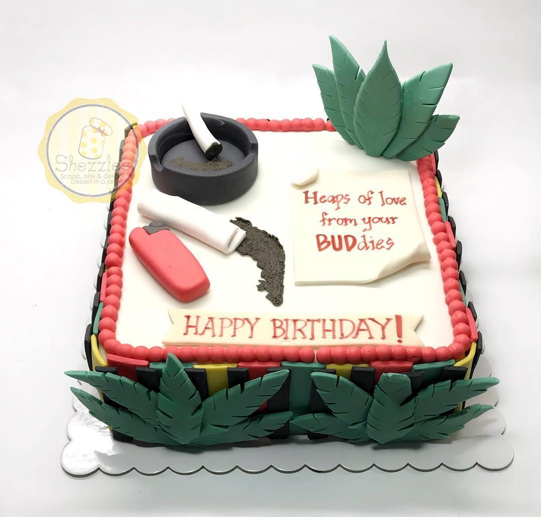 Cool Shezzles Cakes And Pastries Marijuana Theme Cake Personalised Birthday Cards Veneteletsinfo