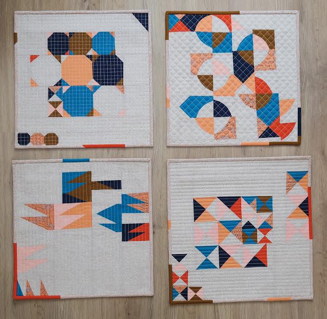 Luna Lovequilts - Four Improv mini quilts - Class samples - Carolyn Friedlander and Kona fabrics