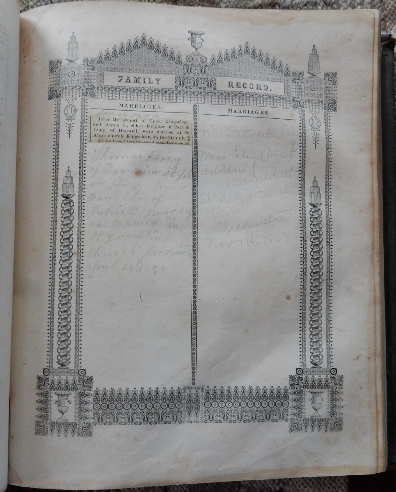 Heirlooms reunited bible of the lucy and mcdermott families of marriage of john mcdermott of upper kingsclear new brunswick and annie stella lucy daughter of patrick lucy of hanwell new brunswick aiddatafo Images