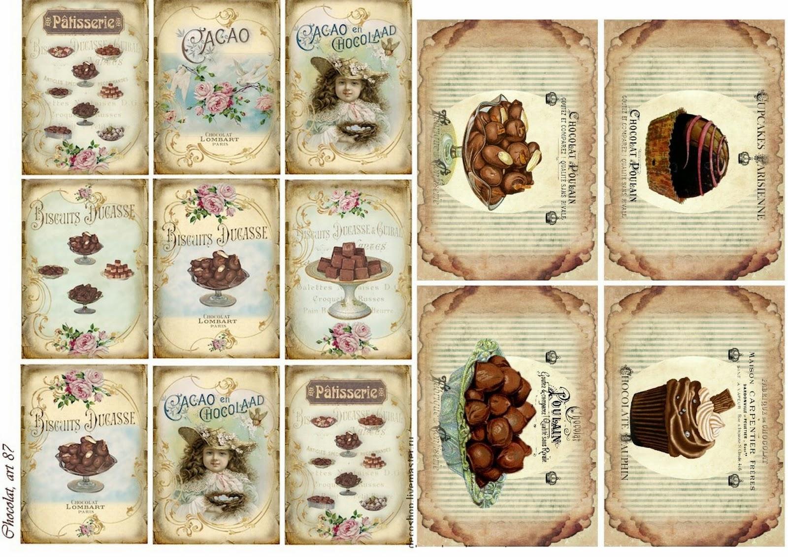Etiquetas De Chocolates Estilo Vintage Para Imprimir