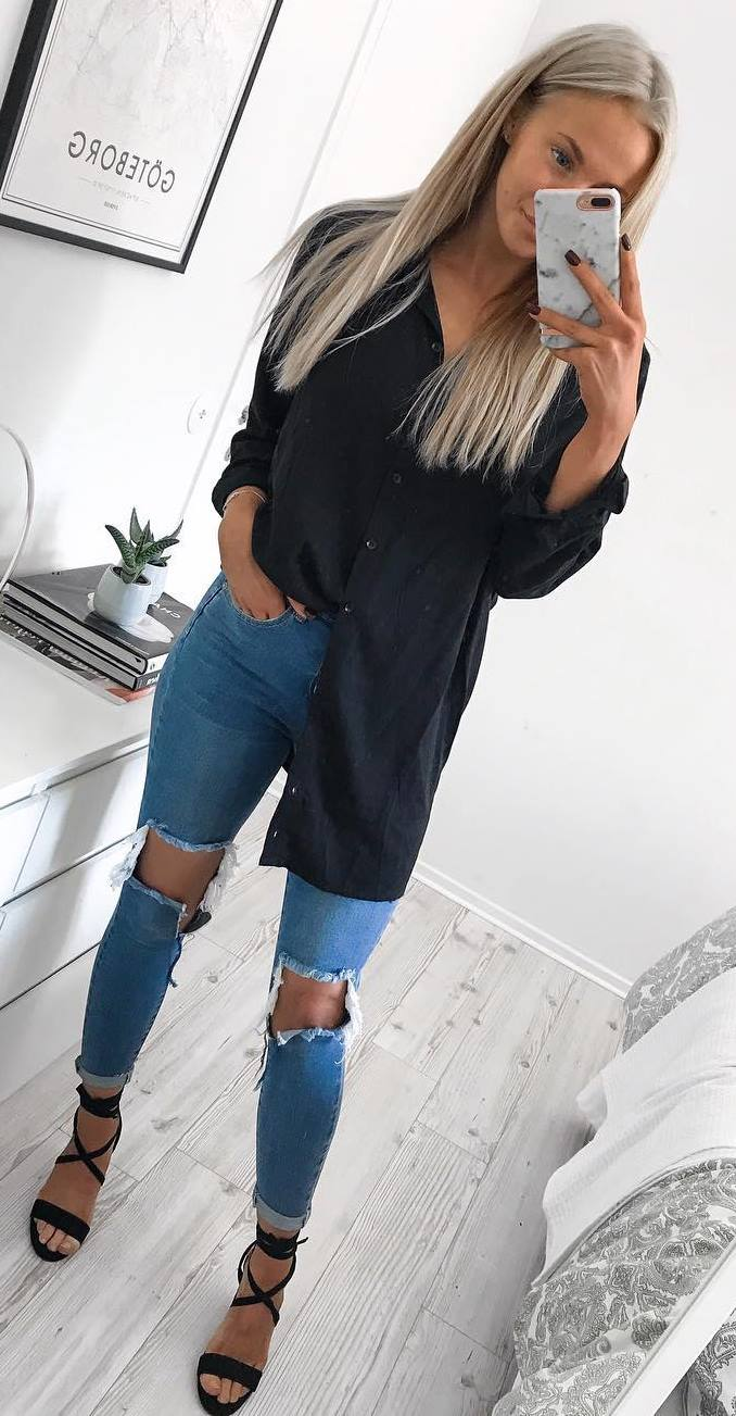 stylish look | shirt dress + ripped jeans + heels
