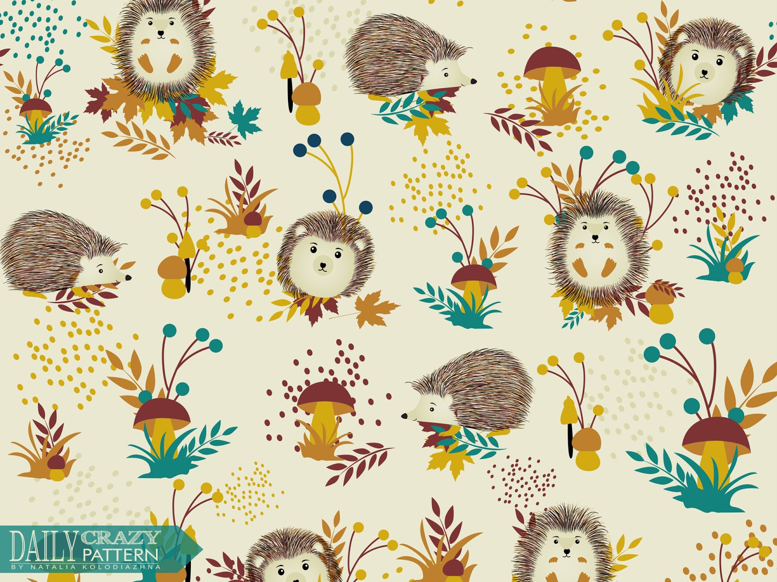 "Cute art print with adorable hedgehogs for ""Daily Crazy Pattern"" project"