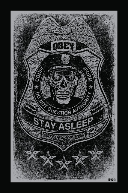 "They Live ""Do Not Question Authority"" Silver Regular Edition Screen Print by Chris Garofalo x Mad Duck Posters"
