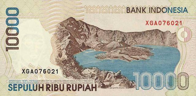 Indonesia money currency 10000 Rupiah banknote 1998 Segara Anak Volcanic Lake