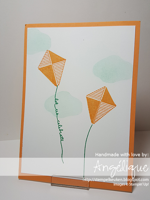 http://stempelkeuken.blogspot.com OnStage April 2016 Display Stamper de Stempelkeuken Swirly Bird, Swirly Bird bundle, Balloon Celebration, Peekaboo Peach, Emerald Envy, Soft Sky, Wink of Stella