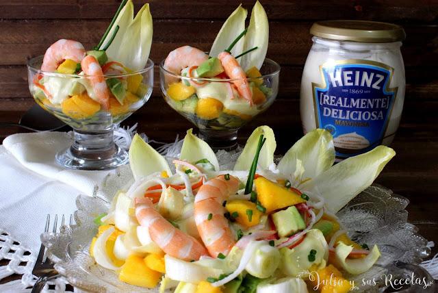 Ensalada de langostinos y mango con mayonesa. Julia y sus recetas